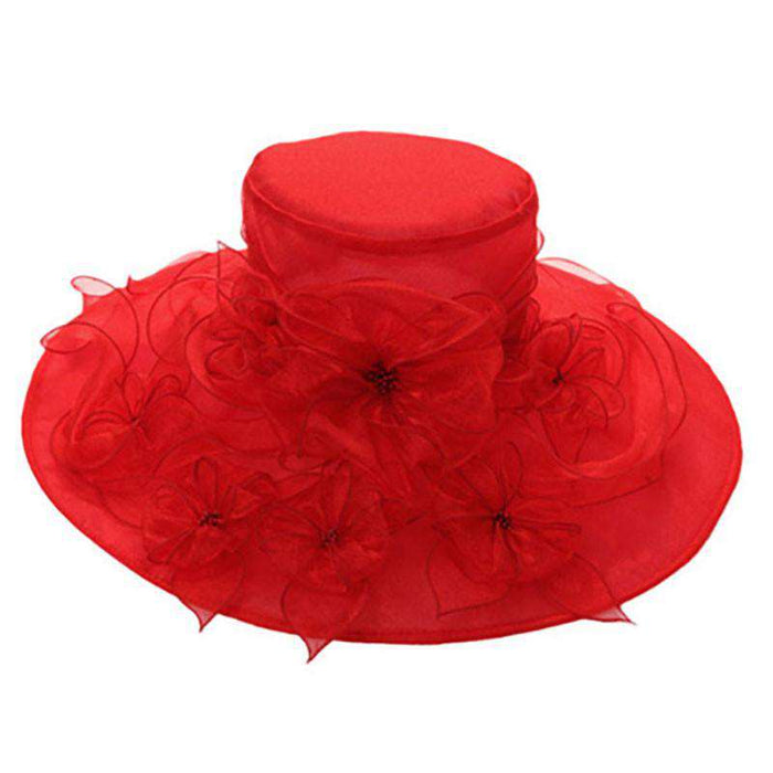 Organza Hat with Flower Bouquet - SetarTrading Hats