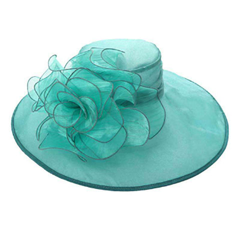 Organza Hat with Large Rose Accent