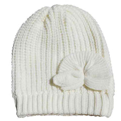 Rib-Knit Beanie with Bow by JSA - Ivory