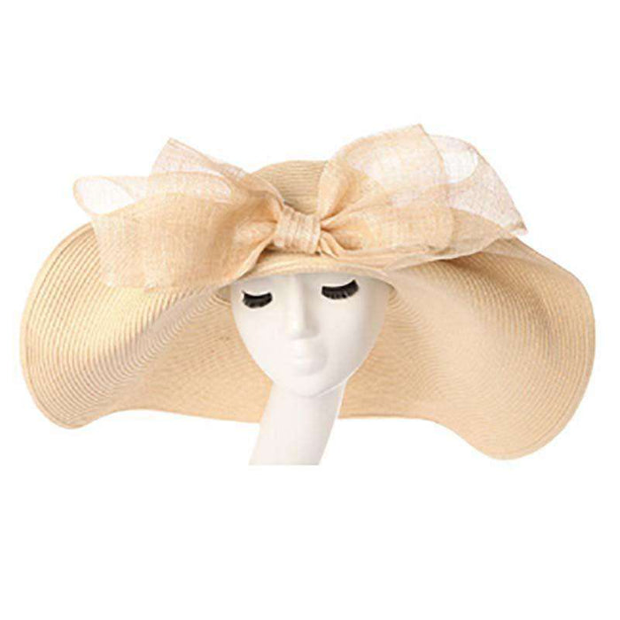Large Brim Sun Hat with Sinamay Bow - SetarTrading Hats