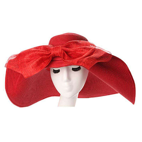 Large Brim Sun Hat with Sinamay Bow
