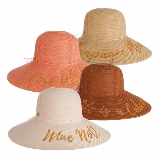 Champagne Please Wide Brim Beach Hat- Cappelli Straworld