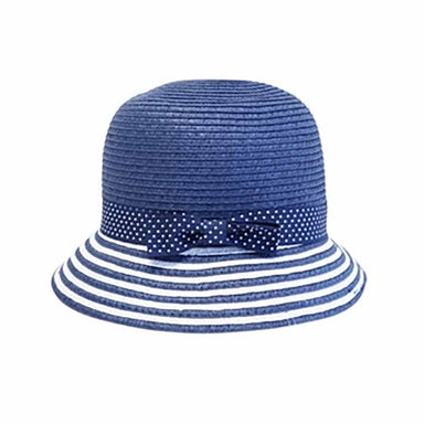 Girl's Nautical Straw Cloche Hat with Polk Dot Ribbon