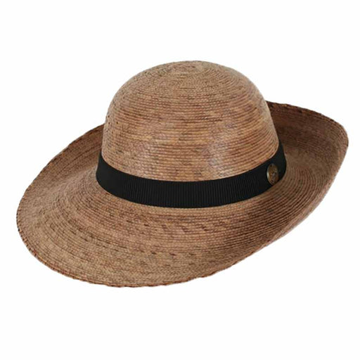 Chloe Burnt Palm Leaf Asymmetrical Up Turned Brim Sun Hat - Tula Hats