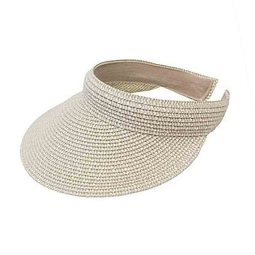 comfort straw clip on sun visor for women upf50 multitone heathered straw braid ivory tweed