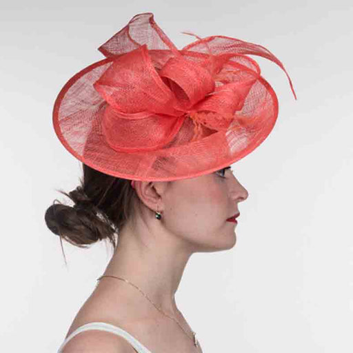 Coral Medium Sinamay Bow Fascinator Cocktail Hat - KaKyCO - SetarTrading Hats