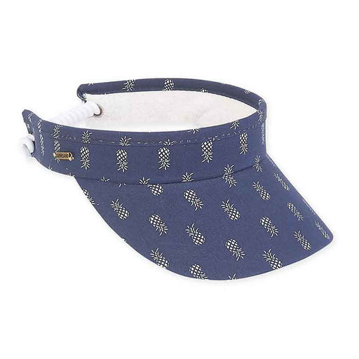 Pineapple Print Cotton Sun Visor with Spring Coil Closure - Sun 'N' Sand