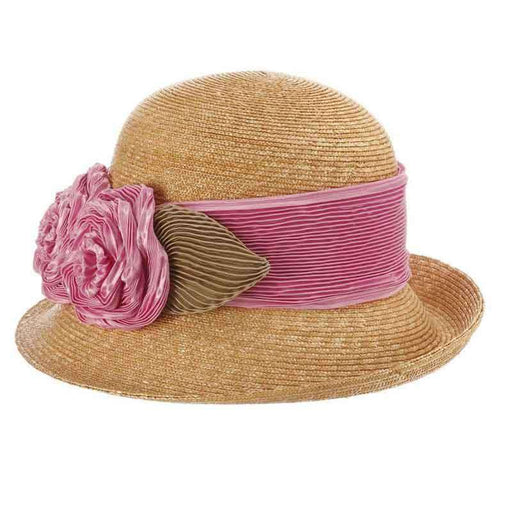 Sara Wheat Braid Dress Hat with Pleated Satin Rose - Callanan Hats