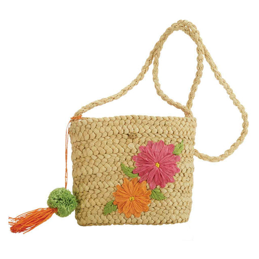 Cornhusk Cross Body Bag with Flower Embroidery - Cappelli Straworld