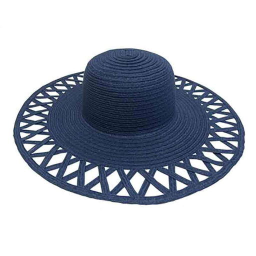 Cutout Brim Straw Summer Hat-Navy - SetarTrading Hats