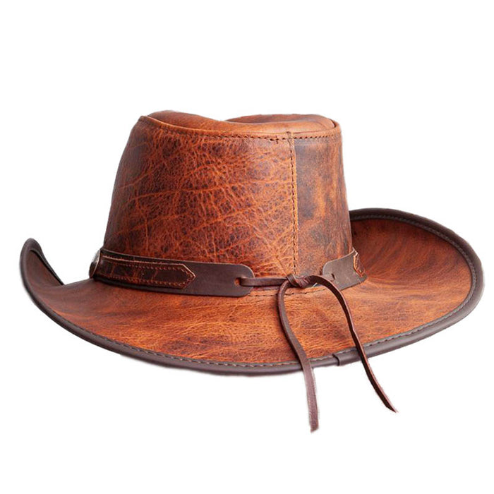 Cyclone Leather Cowboy Hat with Ranger Band up to 2XL - Double G Hat
