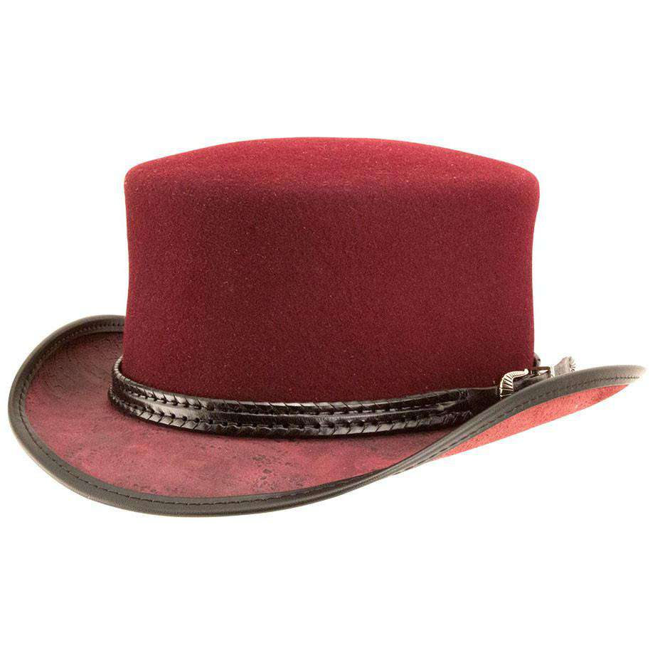 Danbury Wool Felt and  Leather Top Hat - Burgundy - SetarTrading Hats