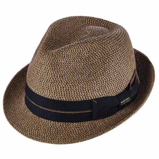 Danville Double Ribbon Bow Brown Tweed Fedora - Scala