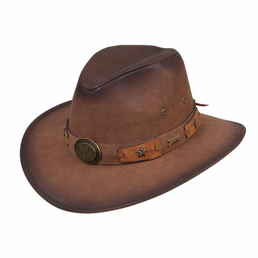 c0afef9f00a12 distressed western safari hat with bull conche starts and arrows pin band  leather look men's hat