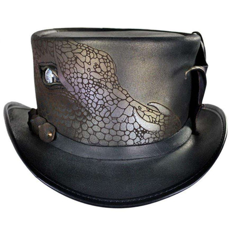 Draco Leather Steampunk Top Hat - Black