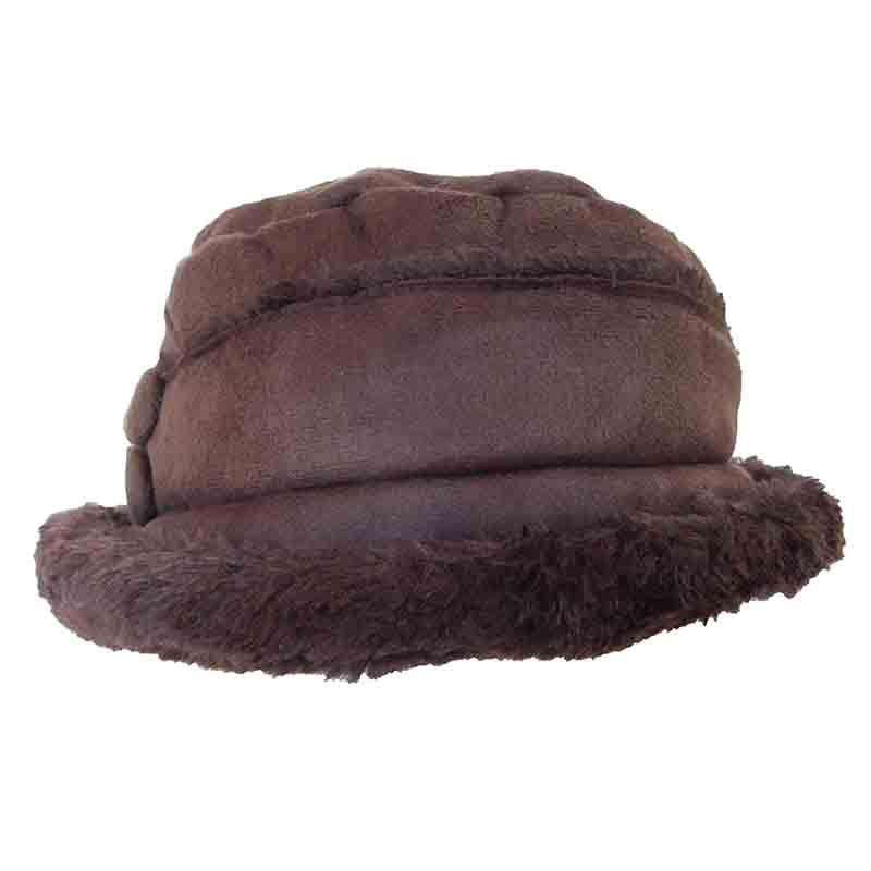 Faux Suede Bucket Hat with Button Accent by JSA