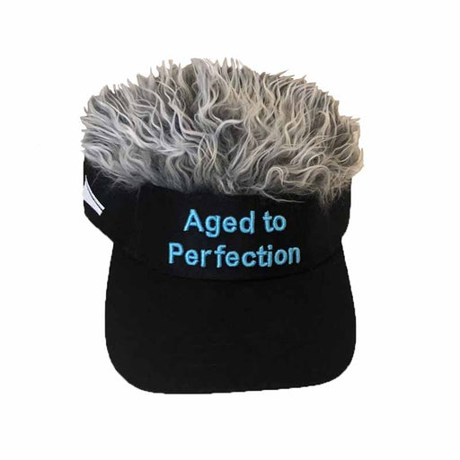 The Original Flair Hair Visor® - Aged to Perfection Fake Hair Sun Visor