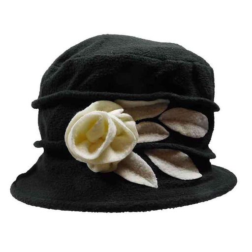 Fleece Beanie with Flower and Leaf Accent by JSA for Women - SetarTrading Hats