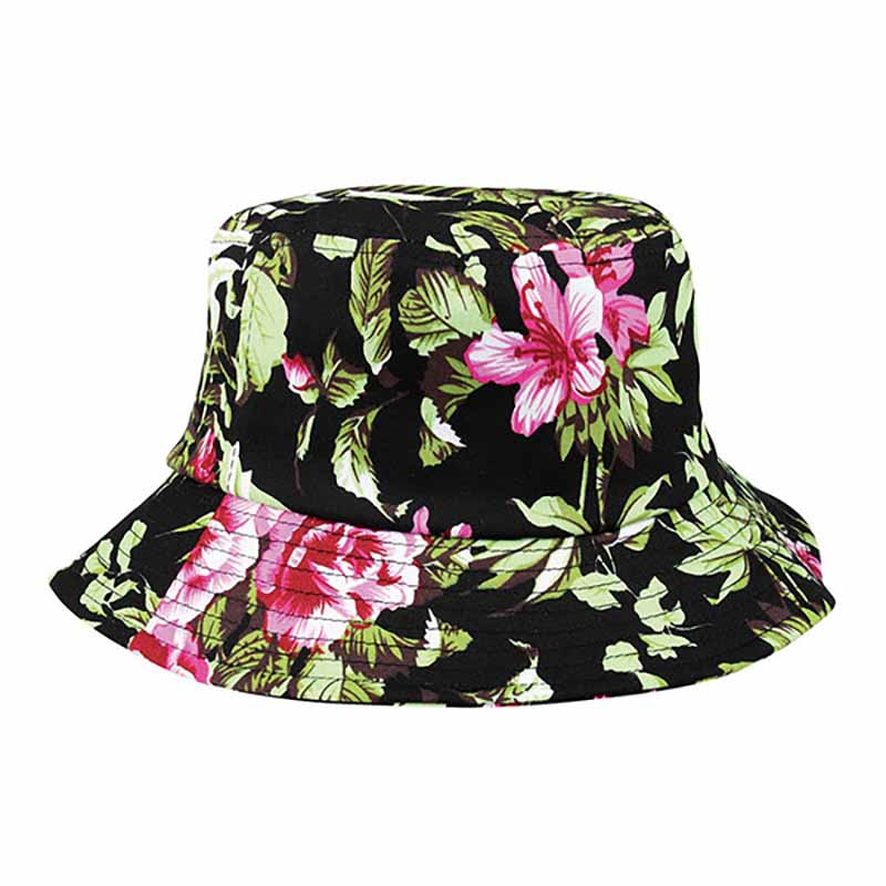 Hawaii Floral Print Cotton Bucket Hat  - Mega Cap