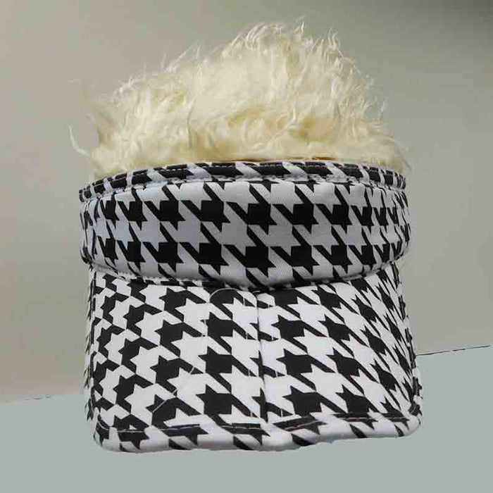 foldable cotton sun visor with removable spiked flair hair black and white chevron sport visor