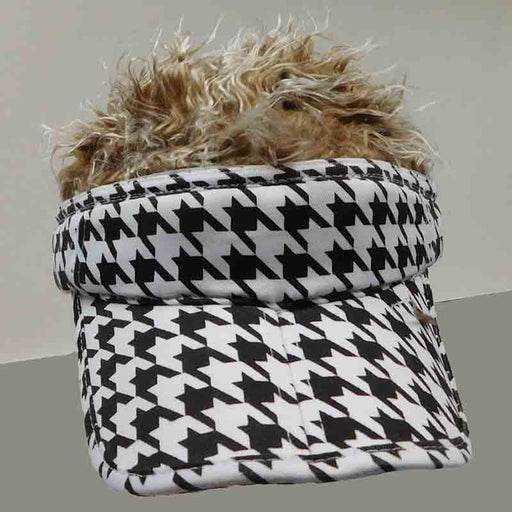 foldable cotton sun visor with removable spiked flair hair black and white chevron sport visor brown fake hair