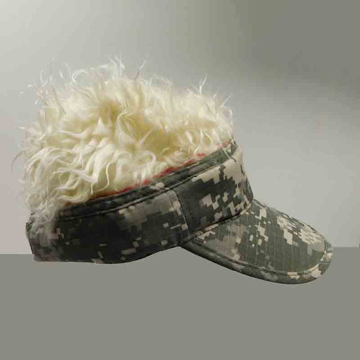 foldable cotton sun visor with removable spiked flair hair black and white digital camo olive blond fake hair