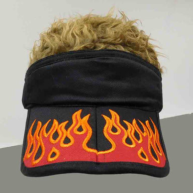 foldable cotton sun visor with removable spiked flair hair black with orange flame