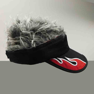 foldable cotton sun visor with removable spiked flair hair black with red flame