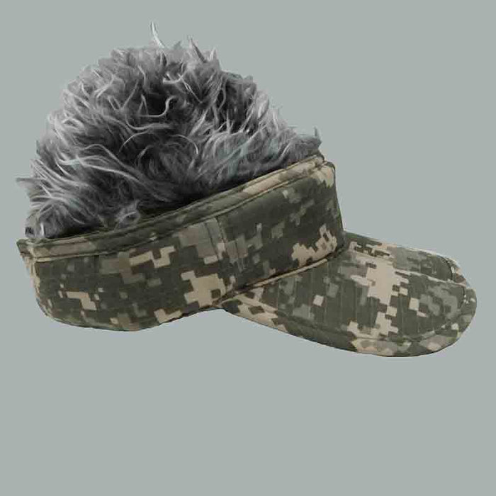 foldable cotton sun visor with removable spiked flair hair digital camo visor with grey faux hair
