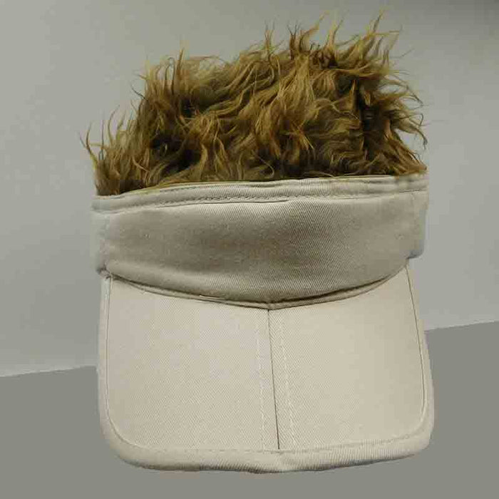foldable cotton sun visor with removable spiked flair hair khaki with brown fake hair