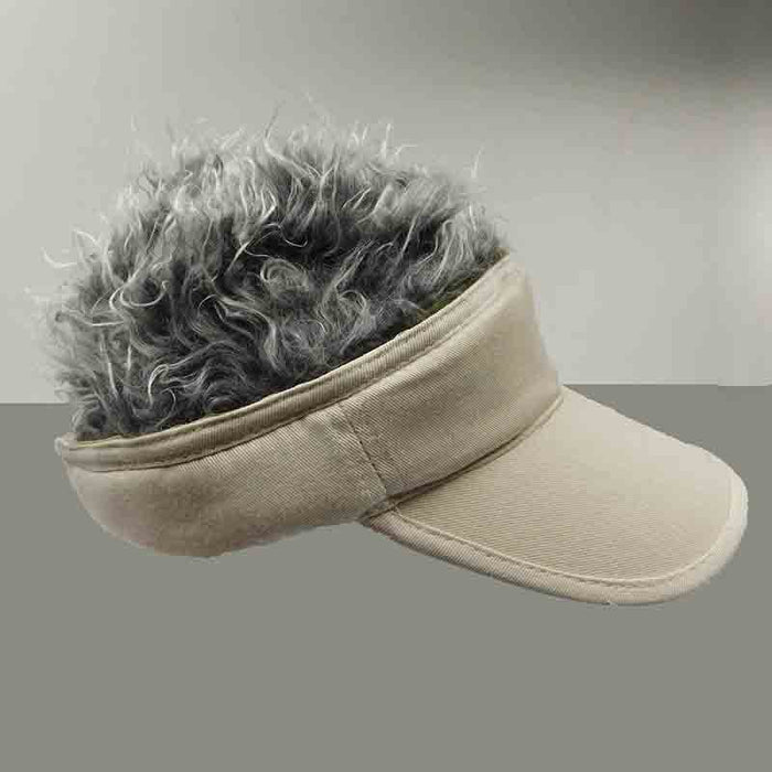 foldable cotton sun visor with removable spiked flair hair khaki with grey fake hair