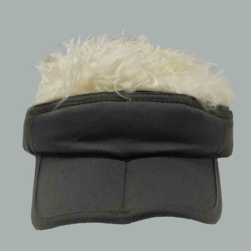 foldable cotton sun visor with removable spiked flair hair olive with blond fake hair