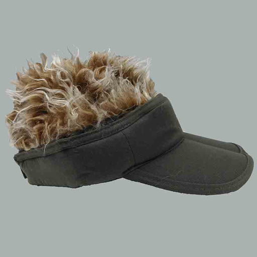 foldable cotton sun visor with removable spiked flair hair olive with brown fake hair