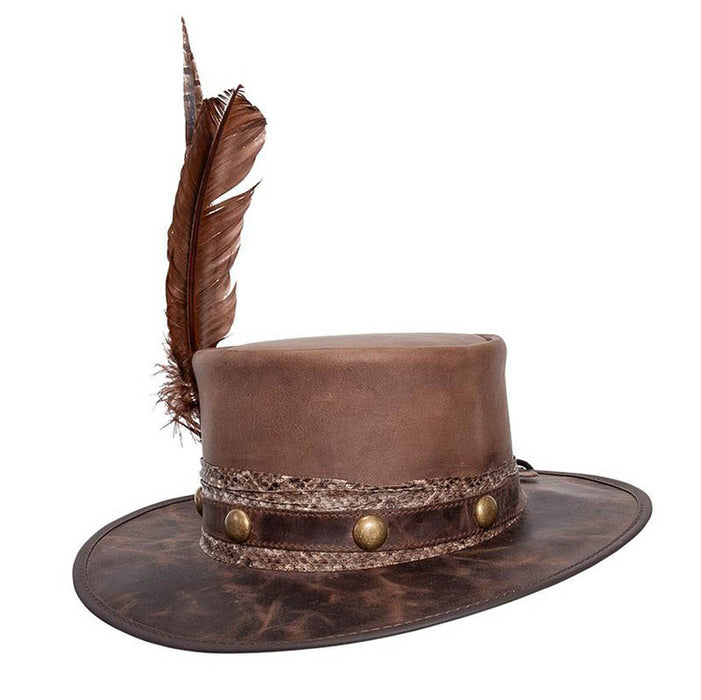 Bohemian Leather Bolero Hat with Large Feather - Steampunk Hatter, USA