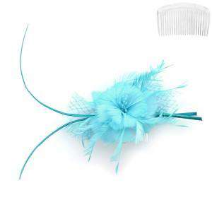 Feather Flower Hair Comb Fascinator - SetarTrading Hats