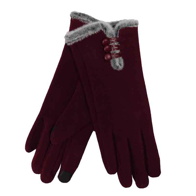 Fur Trimmed Texting Gloves with Button Accent