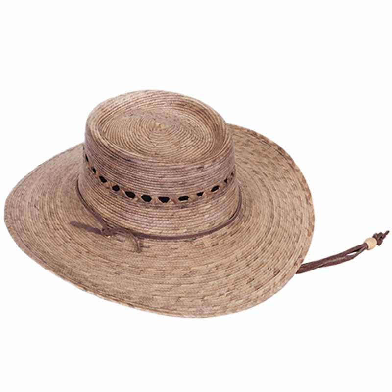 gambler burnt palm fiber hat with lattice vented crown chin strap tula hats
