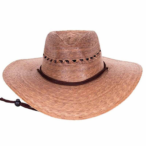 gardener hat extra wide brim with vented lattice crown chin cord burnt palm leaf upf 50 tula hats