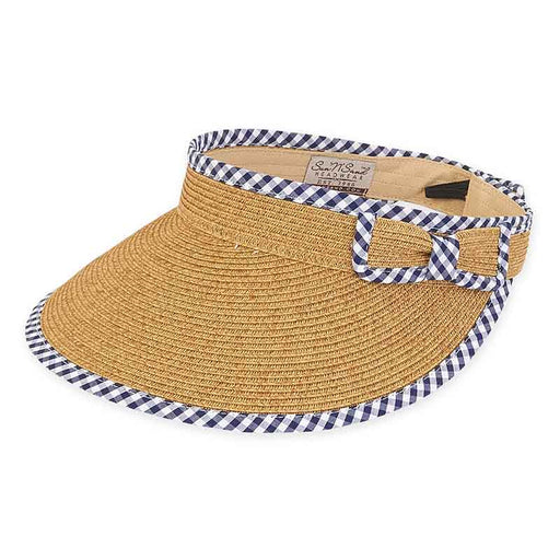 Gingham Trimmed Wide Brim Roll Up Sun Visor - Sun'N'Sand®