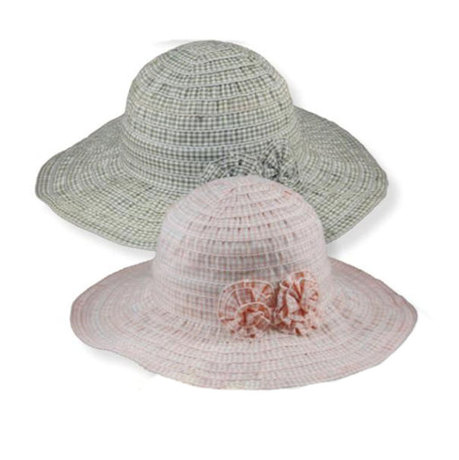Small Heads Gingham Ribbon Summer Hat with Floral Accent - Jeanne Simmons Hats