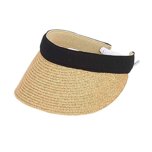 Small Heads Straw Cotton Band Visor with Coil Closure - Sunny Dayz™
