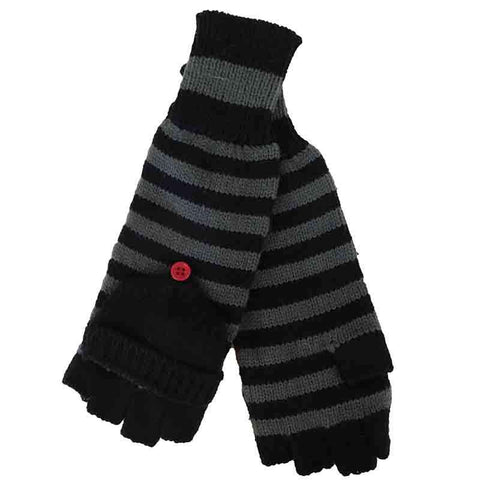 Grey and Black Striped Mittens by JSA