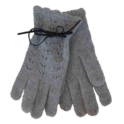 Grey Knit Gloves with Suede Tie by JSA - Small