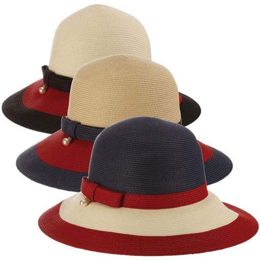 Gurney Tricolor Big Brim Style Hat designed by Callanan Handmade Hats red navy ivory patriotic colors, nautical color combo