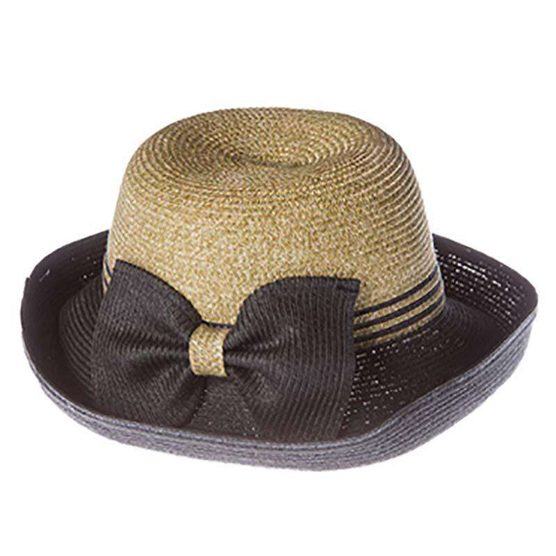 Two Tone Kettle Brim Sun Hat with Bow - SetarTrading Hats