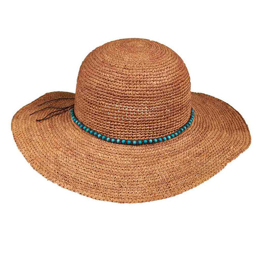 Hand Crocheted Raffia Straw Hat with Beaded Band - Callanan Hats
