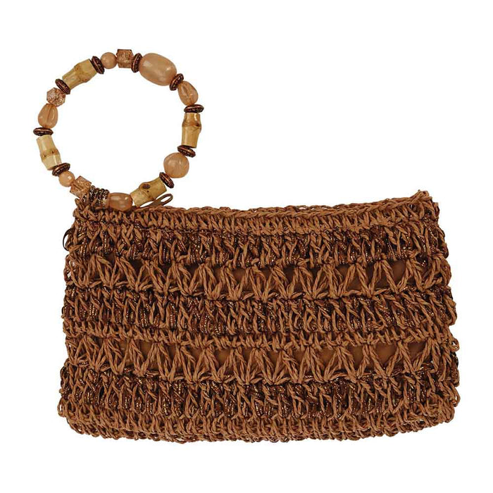Hand Crocheted Straw Clutch with Beaded Wristlet - Cappelli Straworld