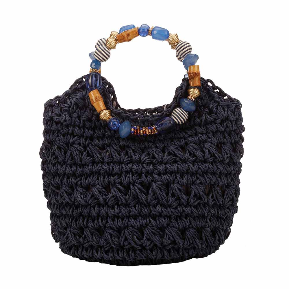 Hand Crocheted Toyo Satchel with Beaded Handles - Cappelli Straworld