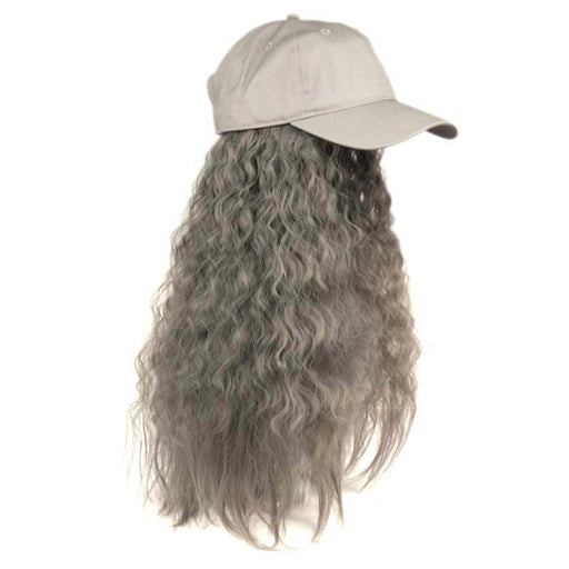 Baseball Cap with Hair Extension - Grey