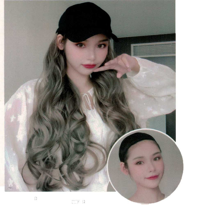 Baseball Cap with Hair Extension - Black